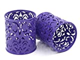 EasyPAG 2pc Round Floral Pencil Holder Desk Stationery Organizer Purple Deal (Small Image)