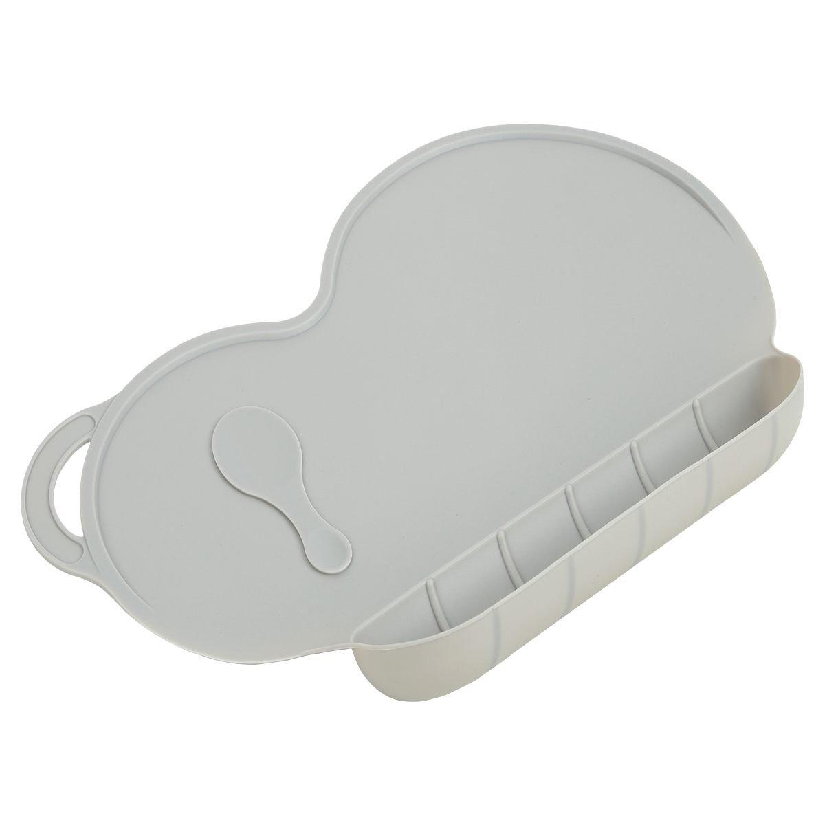 Cobeky Mantel individual de silicona para ninos Estera de mesa plato de nino pequeno babe anti-deslizante Portatil Libre de BPA Gris