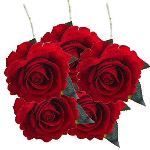 - AIMTOPPY 5 Pcs Artificial Silk Fake Flowers Rose Flower Wedding Bouquet Party Home Decor (red 2)