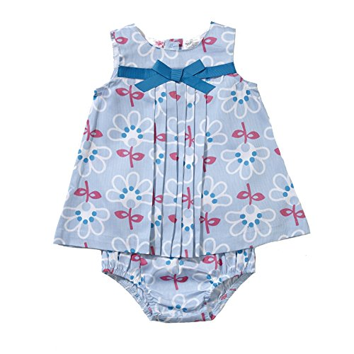 Pleat Bow ((V410115) Little Bitty Girls Front Pleat Dress with Bow in Blue/White, 9M)