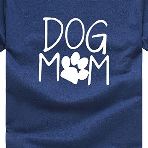 O collo della donne della la del delle bicchierino modo di allentata mamma della del marina parte cane stampa del superiore stampa con della Maglietta casuali vXxIF1qw