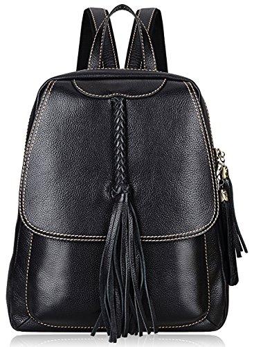 PIJUSHI Fashion Women Leather Backpack Designer Backpack For Girls Travel School Bag 8823 (Black) by PIJUSHI (Image #1)