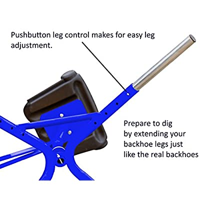 Childrensneeds.com Sand Digger Toy Exavator with Telescoping Legs That Raise Seat Height and Stabilize Backhoe for Digging (Blue): Toys & Games