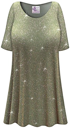 Olive Glitter Slinky Print Plus Size Extra Long A-Line Top 4X (Print Glitter Top)