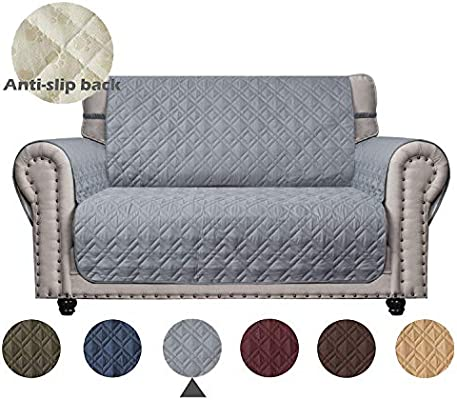 Terrific Ameritex Loveseat Cover With Anti Skip Dog Paw Print 100 Waterproof Keep Your Couch Stain Dirt Scratches Free Pattern1 Light Grey Loveseat Machost Co Dining Chair Design Ideas Machostcouk