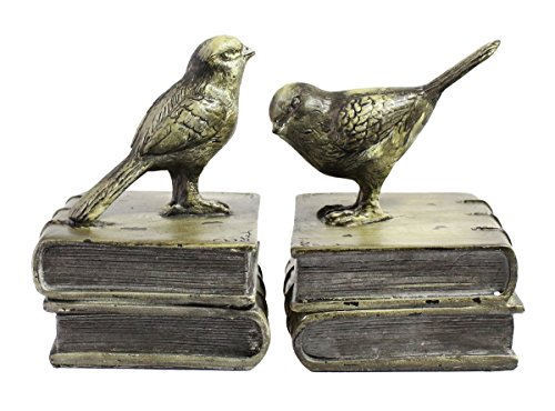 Vintage Rustic Resin Bird Bookends, Retro Painted Finished Tabletop Home Decor, Office Study Accessories Storage Organizer, Heavy Steady Paperweight