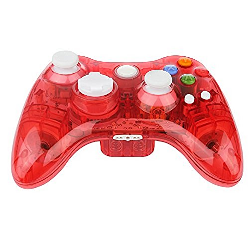 Uniway GK02 Game Controller Wireless Gamepad Transparent PC Controller Joystick With LED Light Built-in Microphone Slot For Xbox 360 Controller Supports Windowsxp/Vista/Win 7/8 System ()