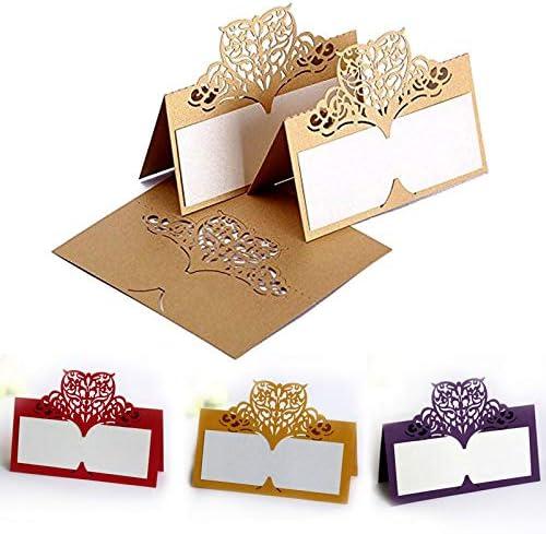 Zonster 100 Pcs Faveurs De Mariage D/éCor Creux Coeur damour Papier Vigne Carte Si/èGe Nom Lieu Cartes Invitations Cartes De Table