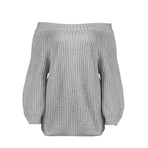HIRIRI Women's Off Shoulder Knit Sweater Ladies Long Sleeve Blouses Strapless Solid Color Casual Shirt Gray