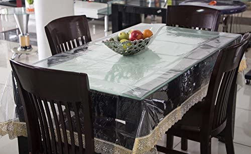 Beau Kuber Industries PVC Dinner Table Cover   Transparent, Golden Lace, 6  Seater At Amazon At Rs.469 At Lowest Price At SasteSaude