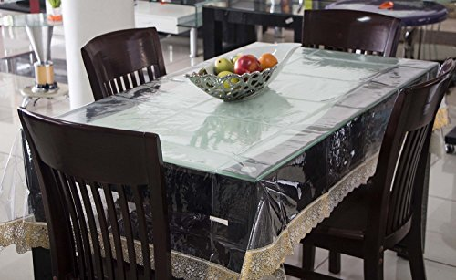 Kuber Industries Transparent Dining Table Cover 6 Seater 6090 Inches (Golden Lace)