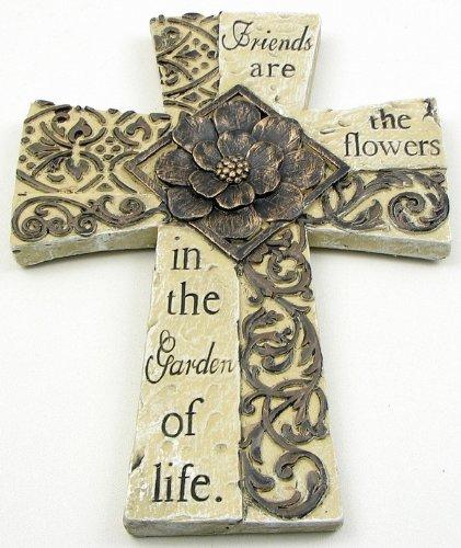 (Cross Sculpture Wall Plaques Home Indoor Outdoor Decorative Quotes Floral Vines Accent Statue Catholic Faith Symbol Friends Family Hope Ornament Memorial Bereavement Decor)