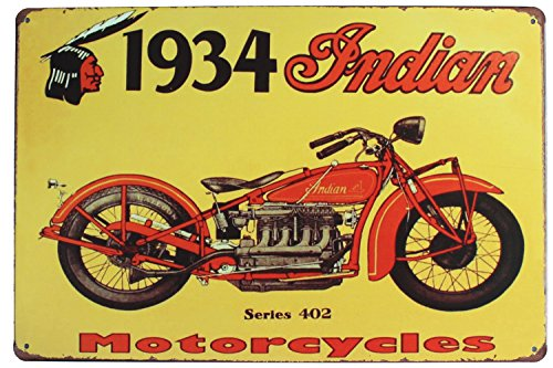 1934 Indian Series 402 Motorcycles Poster, Metal Tin Sign, Vintage Plaque Garage Home Wall Decor