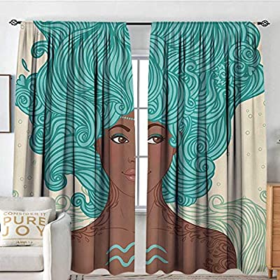 NUOMANAN Rod Pocket Curtains Zodiac Aquarius,African Ethnic Lady Beauty Girl Fantasy Portrait Tribal Portrait,Pale Green Teal Brown,Insulating Room Darkening Blackout Drapes for Bedroom 120