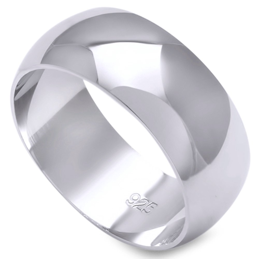 Solid Sterling Silver Women's Mens Unisex Wedding Band Ring Comfort 2-10mm Sizes 2-16 (8mm--Size 6)