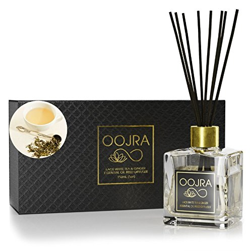 OOJRA Laos White Tea and Ginger Essential Oil Reed Diffuser Gift Set, Glass Bottle, Reed Sticks, Natural Scented Long Lasting Fragrance Oil (3+ Months 4 oz) for Aromatherapy and Air Freshener (Tea Home Fragrance Oil)
