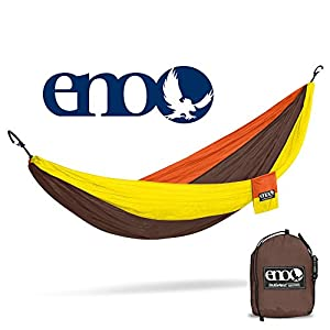 Eagles Nest Outfitters ENO DoubleNest Hammock, Portable Hammock for Two, Orange/Chocolate/Yellow