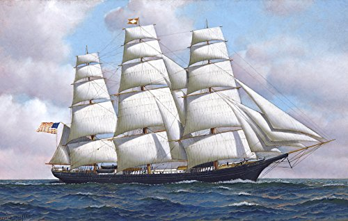 Flying Cloud Ship - An American Clipper Ship Flying Cloud at Sea Under Full Sail by Antonio Jacobsen - 18