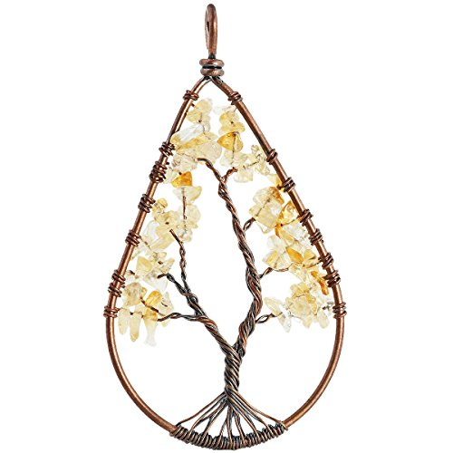 SUNYIK Citrine Tumbled Stone Tree of Life Teardrop Pendant Necklace for Unisex - Hammered Drop Pendant