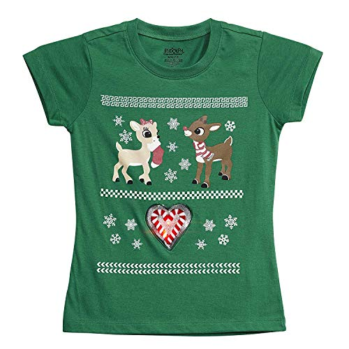 LiteWear Girls Kids Children Rudolph The Red Nosed Reindeer & Clarice Candy Cane Graphic Light Up Holiday Christmas Tee Shirt Green 10