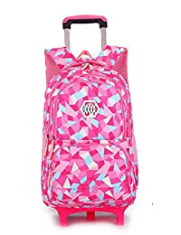 Meetbelify Kids Rolling Backpacks Luggage Two Wheels Unisex Trolley School Bags Red Rose For Girls