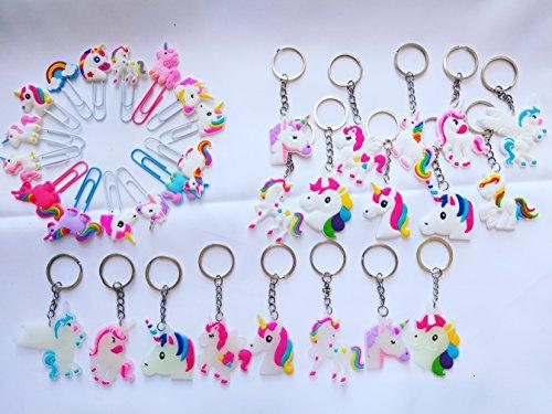 BEIBUWAN 33 Pack Rainbow Unicorn Keychain Keychain Stationery Bookmarks Decorate Birthday Party Favor Supplies