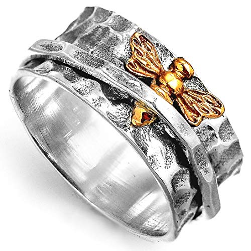d475219439346 Boho-Magic 925 Sterling Silver Spinner Ring for Women | Spinning Bee Ring  Made of Gold Brass | Wide Band Fidget Meditation Anxiety Relief | Size 6-9  ...