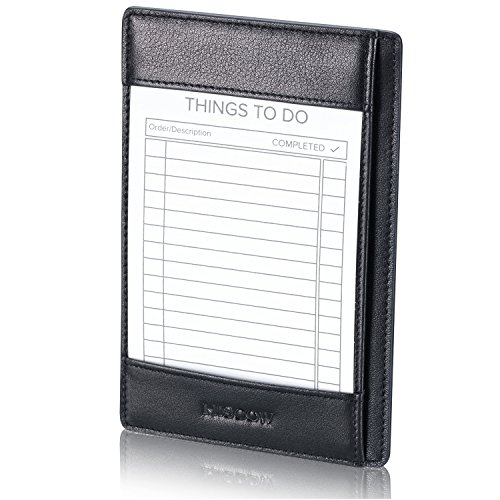 HISCOW Classy Leather Note Jotter with Pen Holder - Italian Calfskin (Black)