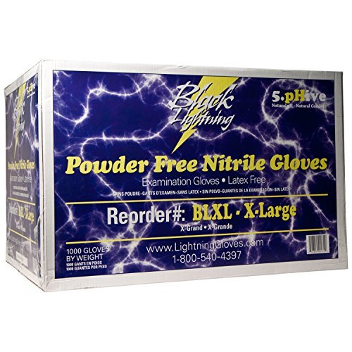 Atlantic Safety Products Black Lighting Powder-Free Disposable Nitrile Gloves - Size Extra-Large, Case of 1000 -