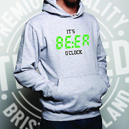 E 'Beer in punto, tempo di bere !! Divertente Slogan Drink Unisex Con Cappuccio
