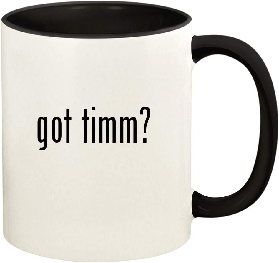 got timm? - 11oz Ceramic Colored Handle and Inside Coffee Mug Cup, Black