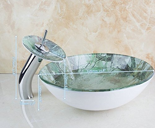GOWE Waterfall Warm Colorful Deck Mounted Construction Real Estate Bathroom Basin Sink Vessel Faucet Tap Lavatory Glass Basin Set 2
