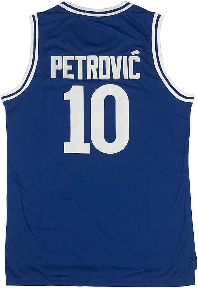 Horlohawk Mens Drazen Petrovic 10 Cibona European Blue Basketball Jersey Stitched