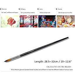 Golden Maple 9 Piece Golden Nylon Detail Paint Brushes Suitable for Art Students, Amateur and Professional Artists,Oil & Watercolor Paint Brushes