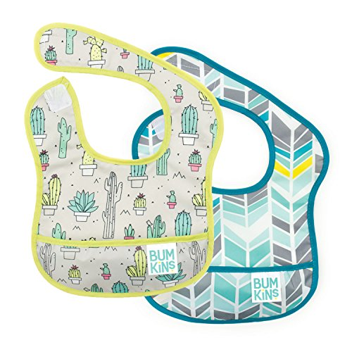Bumkins Starter Bib, Baby Bib Infant, Waterproof, Washable, Stain and Odor Resistant, 3-9 Months, 2-Pack - Cactus & Quill