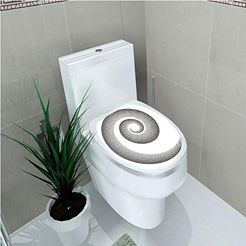 Toilet Cover Sticker,Spires,Spiral Dimensional Curve Turns Around an Axis Rotary Moving Parallel to Ring Center Image,Black,Custom ()