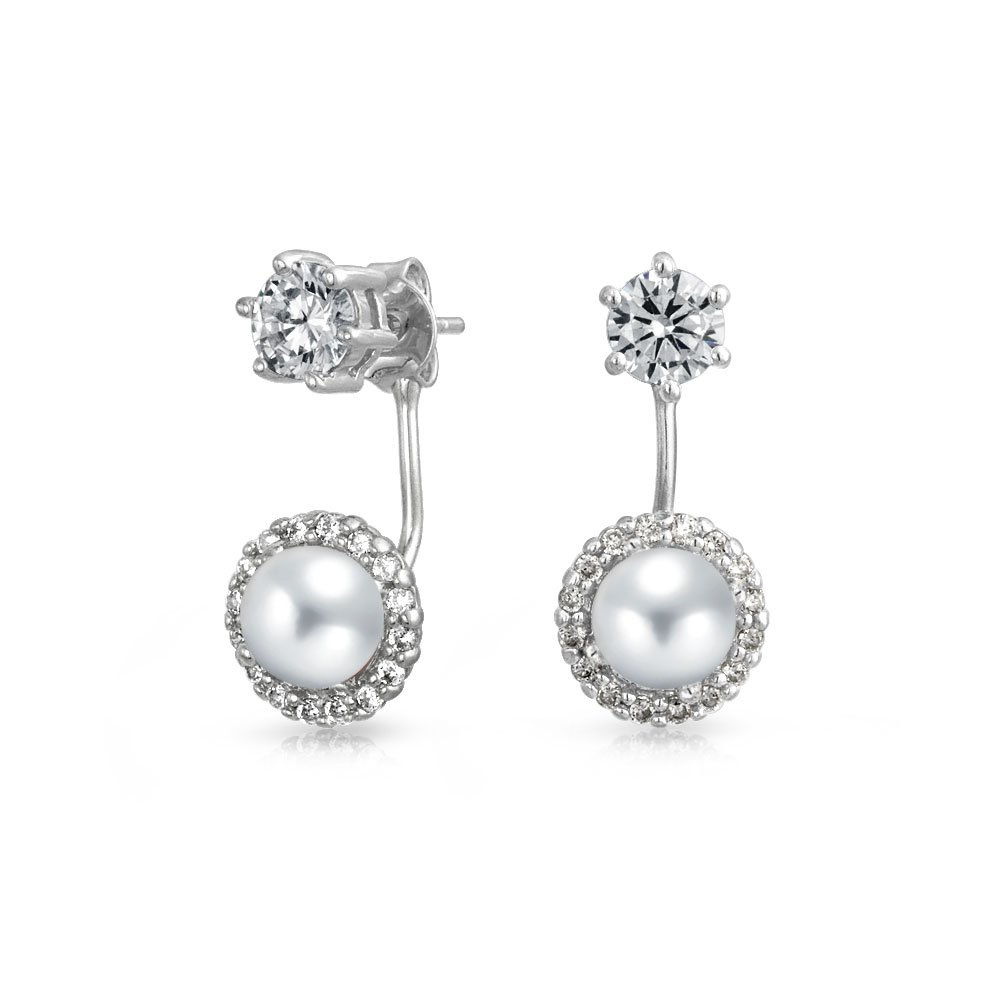 Bling Jewelry CZ Simulated Pearl Front And Back Earrings Rhodium Plated Brass HSH-HSE09399