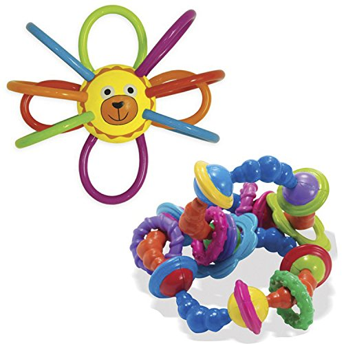 TwiceBooked Bundle Manhattan Toy Zoo Winkel Lion Teether & Whoozit Twist & Scout Rattle