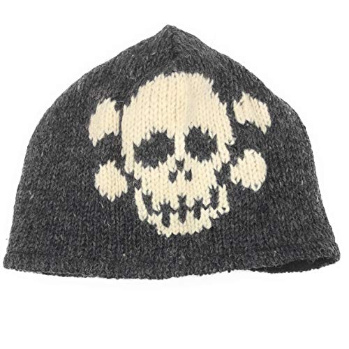 (Hand Knit Winter Sugar Skull Beanie Hat Skeleton Warm Wool Fleece Lined (Gray))