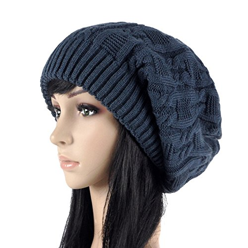 Review Merryshop Slouchy Long Beanie Knit Hat Cap for Winter Oversize (Navy Blue)