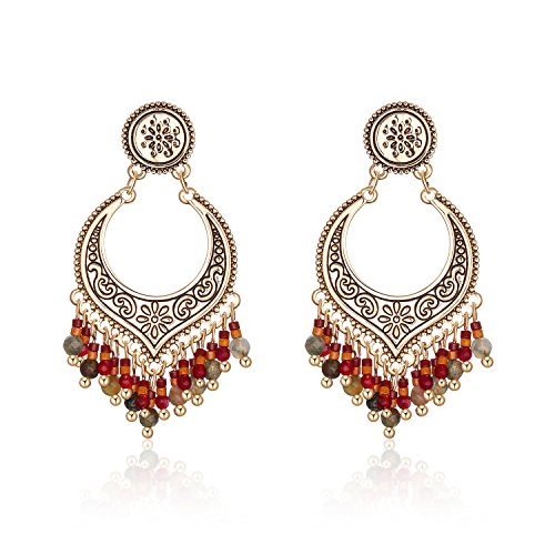 Tassel Earrings Dangle Gypsy Beaded Vintage Boho Copper Colorful Earring for Women and girls ()