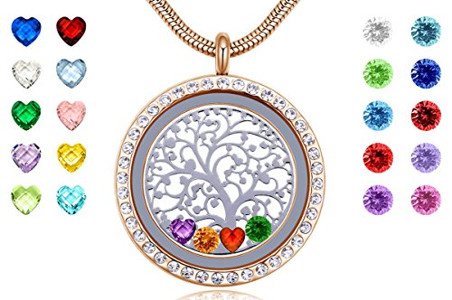 Birthday Stone Necklace - Memory Living Floating Charms Locket with Heart & Round Crystal Birthstones, Gifts for Women Kids Grandma Mother, 18k Gold 316L Stainless Steel Jewelry, Free Chain & Gift Box