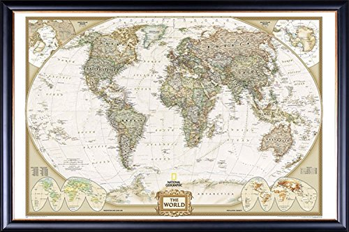 FRAMED National Geographic World Map Executive Style - with Push Pins - 24x36 Dry Mounted in Executive Series Black Wood Frame With Gold Lip - Crafted in USA