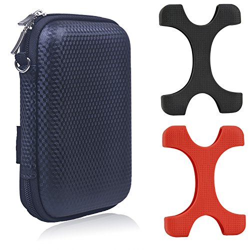 Rancco Seagate Backup Plus HDD Protector Case Comb, 2 Pc Silicone Case + EVA Travel Pouch Shockproof Cover for 2.5