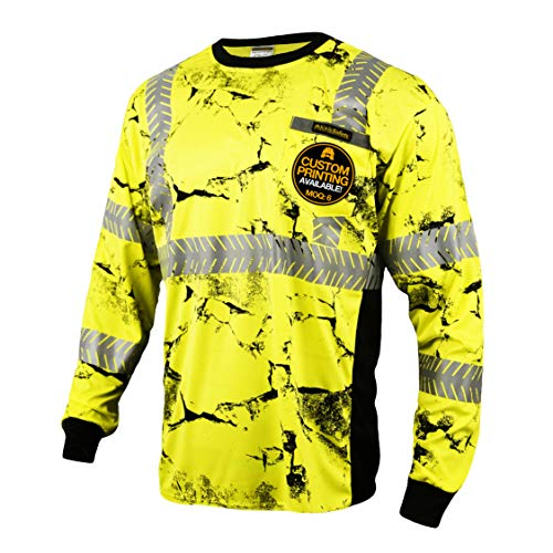 KwikSafety (Charlotte, NC) UNCLE WILLY'S WALL (Chest Pocket) Class 3 ANSI High Visibility Safety Shirt Fishbone Reflective Tape Construction Hi Vis Clothing Men Long Sleeve Camo Yellow Black 2XL by KwikSafety (Image #8)