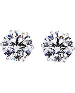 rose diamond fashion multi grande white products top plated zirconia jewelry stud gold cz prong prongs quality earrings