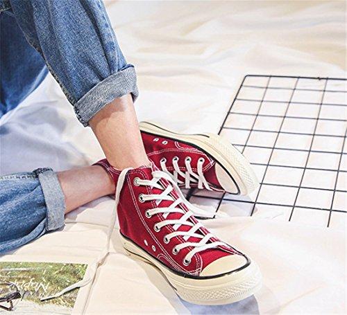 Casual Mujer Zapatillas de Zapatos Hombre mogeek de Lona y Unisex Deportivo Rojo Deporte oscuro Estilo 0IAfI