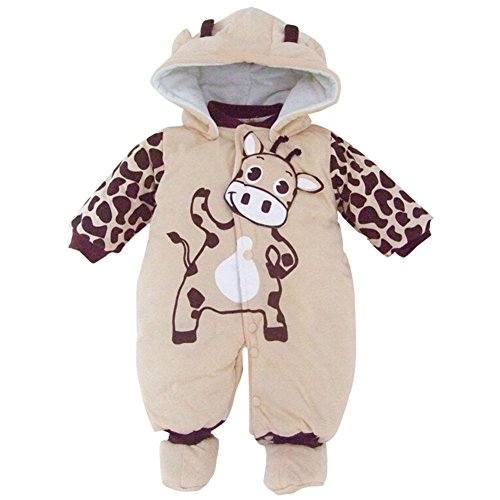 Baby Girls Boys Animal Style Winter Rompers Playsuits Snowsuit (3-6 Months, Beige)