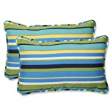 Pillow Perfect Outdoor Topanga Stripe Lagoon Rectangular Throw Pillow, Set of 2