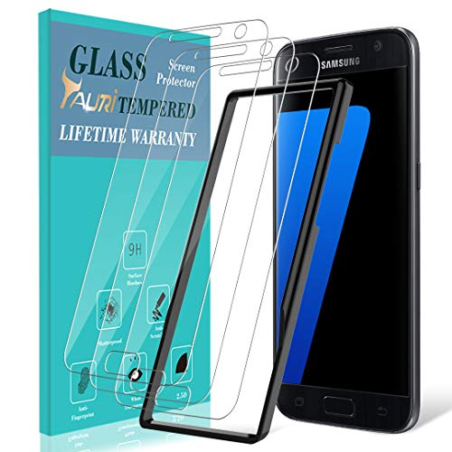 TAURI [3-Pack] Screen Protector for Samsung Galaxy S7, [Alignment Frame] Easy Install [Case Friendly] Tempered Glass Screen Protector, Lifetime Replacement Warranty